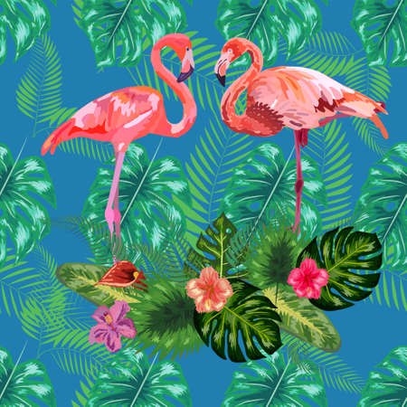 Trendy pattern pink flamingo birds couple. Bright camelia flowers. Tropical monstera philodendron green leaves. Ilustracja