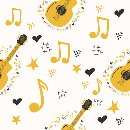 Hand-drawn musical pattern with country guitar, stars, notes, symbols, objects and elements