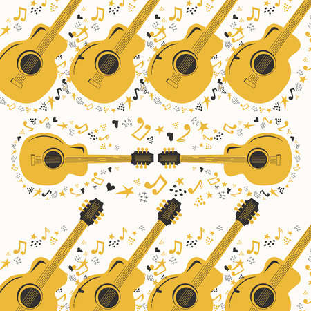 Hand-drawn musical seamless pattern with country guitar, stars, notes, symbols, objects and elements