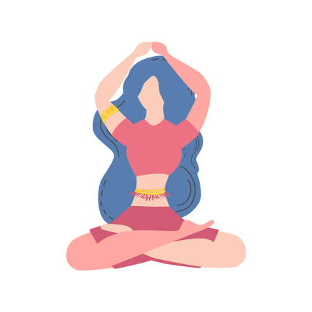 Woman is sitting in lotus position. The concept of meditation, health benefits for the body, control over the mind and emotions.