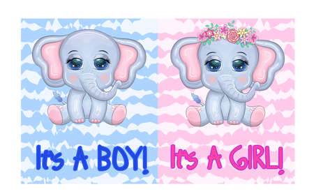 Baby Shower greeting card with Cute Elephant boy and girl with beautiful eyes with a butterfly, children's illustration
