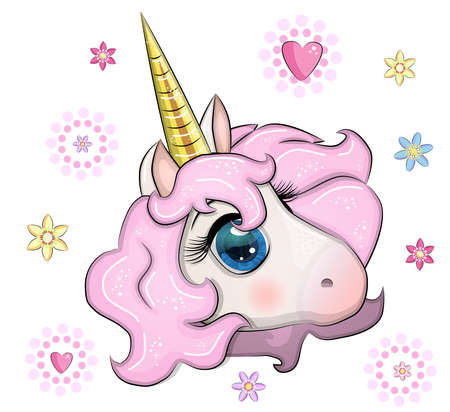 Cute unicorn muzzle with beautiful eyes and a developing mane on the background of flowers, children's, print, textile