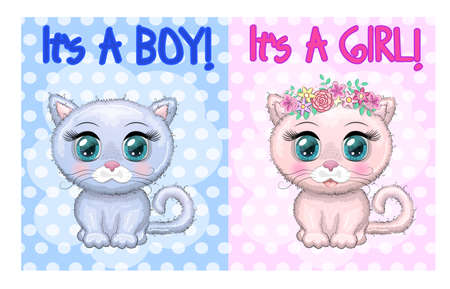 Baby Shower greeting card with Cute Kittens boy and girl. Ilustracja