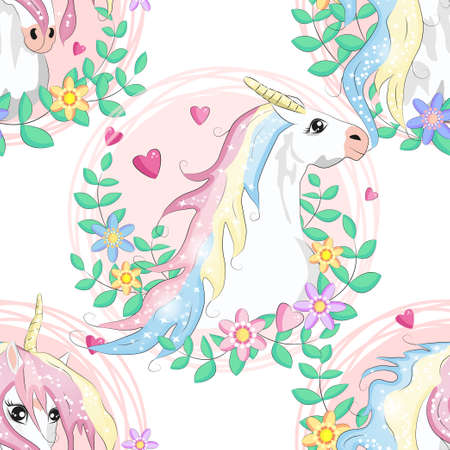 pattern with cute unicorns, heart, clouds, rainbow and stars. Magic background with little unicorns. Ilustracja