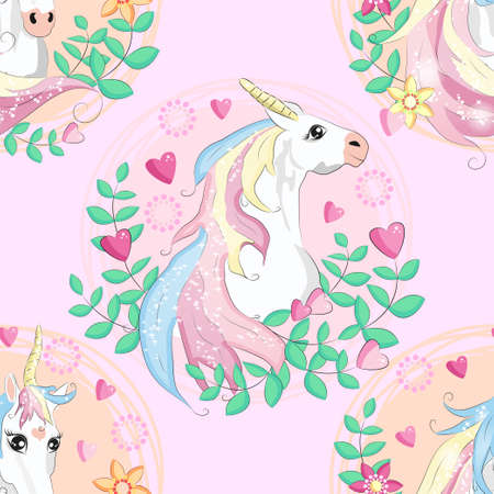 seamless pattern with cute unicorns, clouds,rainbow and stars. Magic background with little unicorns Illustration
