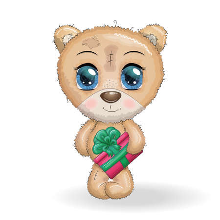 Cute cartoon bear with big eyes and a Christmas gift in the paws on a white background for your designs Ilustracja