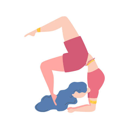 Woman in pose. Yoga, concept of meditation, health benefits for the body, control of the mind and emotions. Ilustracja