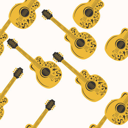 Handdrawn seamless pattern with various country music symbols - notes, guitar, stars and elements.
