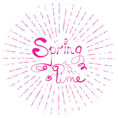 typographic illustration of SPRING TIME retro label with light rays. lettering composition.