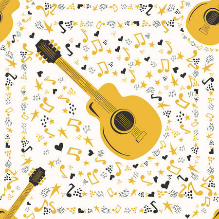Musical seamless pattern with music notes, guitar. Hand-drawn country guitar, stars and elements