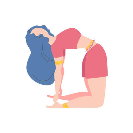 Woman in a pose of a camel Ushtrasana. Yoga, concept of meditation, health benefits for the body, control of the mind and emotions