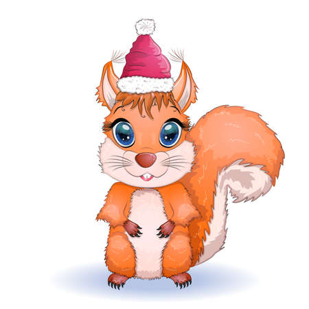 cute cartoon squirrel with beautiful eyes in a Santa Claus hat with a Christmas gift, candy cane, ball
