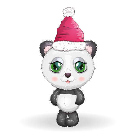 Cute cartoon panda bear with big eyes in a red Santa Claus hat. Greeting card, New Year and Christmas Illustration