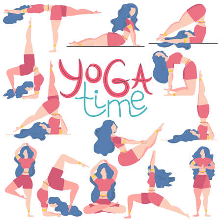 The inscription YOGA time and a set of 13 postures for yoga female figures, flat design isolated on white background