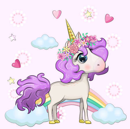 Cute magical unicorn and rainbow. Illustration