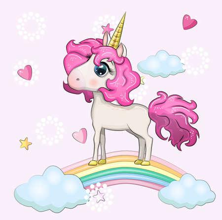 Cute magical unicorn and rainbow. Ilustração