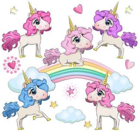 Set of Cute Cartoon Unicorns isolated on a white background