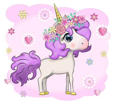 Magic cute unicorn, stars, clouds and moon poster, greeting card
