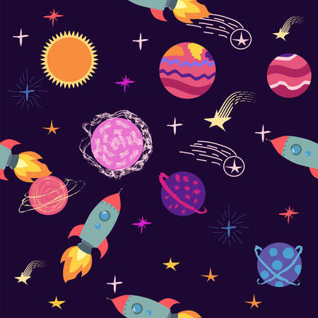 seamless pattern of planets, rockets and stars. Cartoon planet  イラスト・ベクター素材
