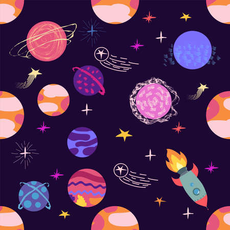 seamless pattern of planets, rockets and stars. Cartoon planet Illustration