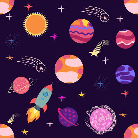 Seamless space pattern. Planets, rockets and stars. Cartoon spaceship