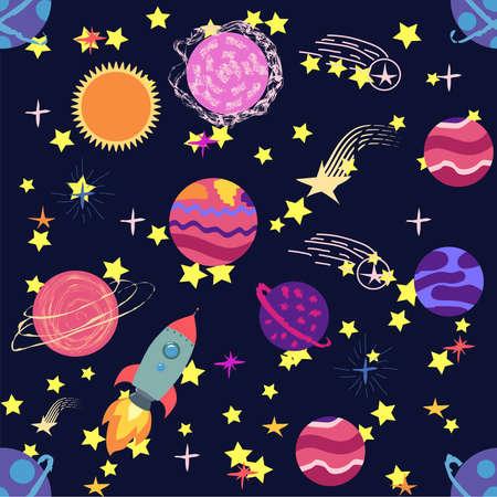 seamless pattern of planets, rockets and stars. Cartoon planet. Childish background. Hand drawn