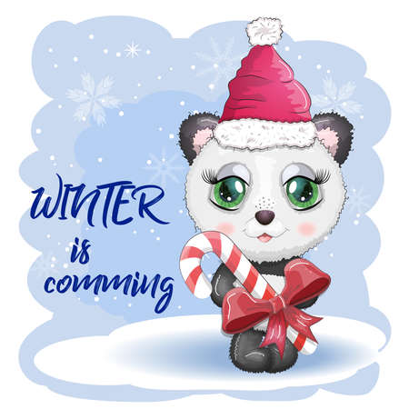 Cute cartoon panda bear with big eyes in a red Santa Claus hat with a caramel cane. Winter is coming. greeting card