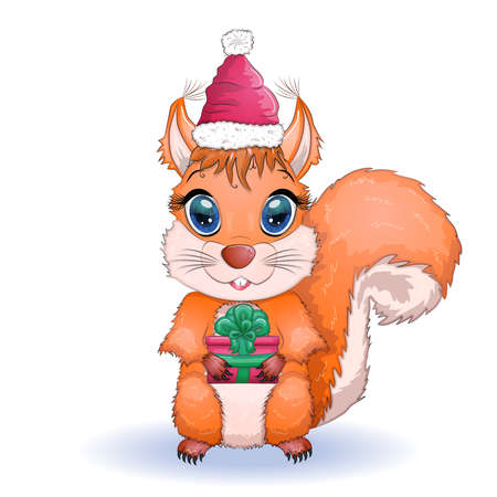 cute cartoon squirrel with beautiful eyes in a Santa Claus hat with a Christmas gift, candy cane, ball. Winter design element for greeting card, Christmas party invitation, holiday sales