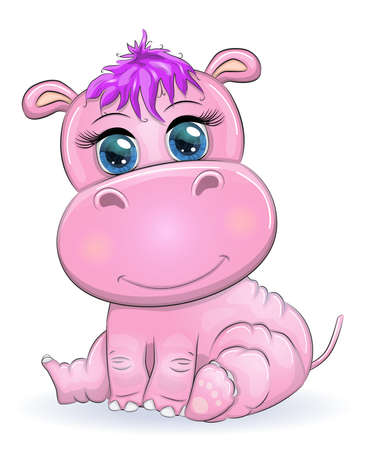 Cute hippo cartoon with beautiful eyes hand-drawn illustration. print t-shirts, baby clothes fashion design, baby shower invitation card.