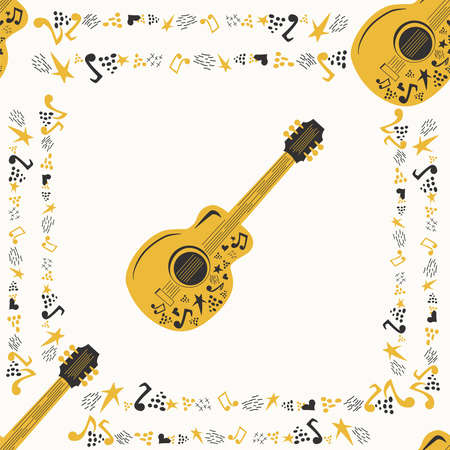Handdrawn seamless pattern with country music symbols - notes, guitar, stars and elements.