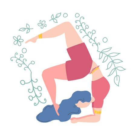 Woman in pose decorated with leaves and flowers. Yoga, concept of meditation, health benefits for the body, control of the mind and emotions. Illustration