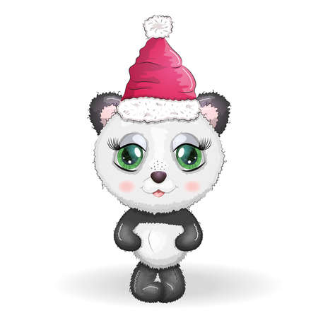 Cute cartoon panda bear with big eyes in a red Santa Claus hat. Greeting card, New Year and Christmas.