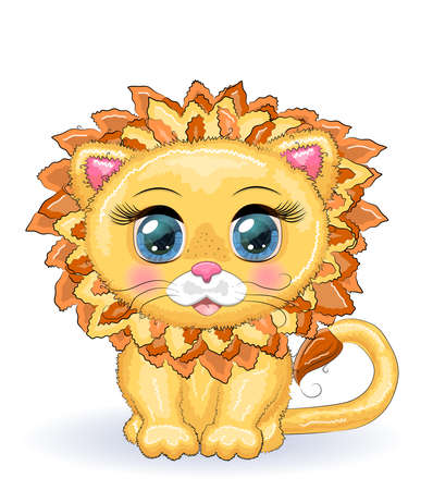 Cute cartoon lion with big eyes in a children s bright style isolated on white background Banco de Imagens - 154166490
