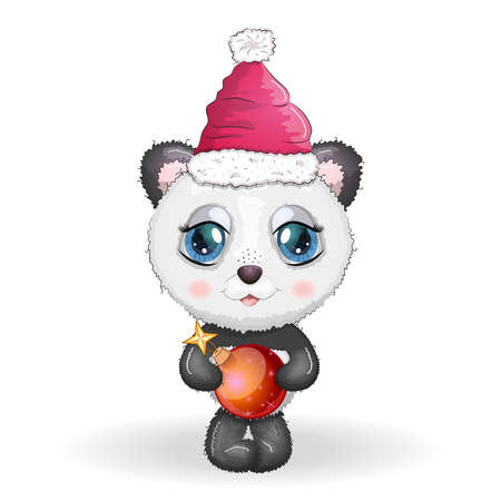 Cute cartoon panda bear with big eyes in a red Santa Claus hat with a Christmas ball. Greeting card, New Year and Christmas Stock Illustratie