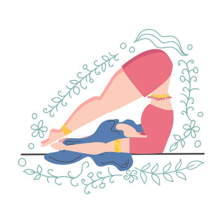 A woman in a pose of a plow - Halasan decorated with leaves and flowers. Yoga, concept of meditation, health benefits for the body, control of the mind and emotions