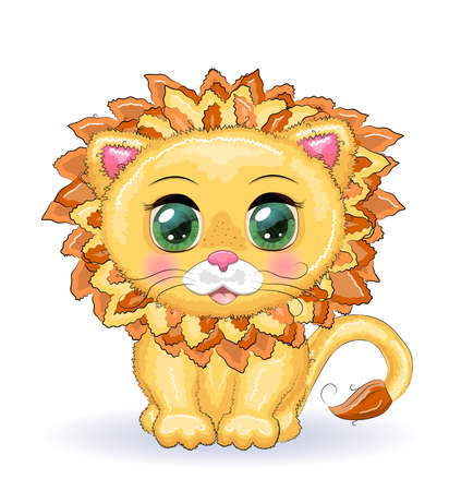 Cute cartoon lion with big eyes in a children s bright style isolated on white background Ilustração