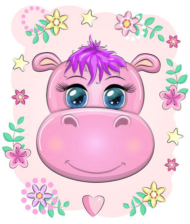 Cute muzzle cartoon hippo with beautiful eyes among flowers, hearts. print t-shirts, baby clothes fashion design, baby shower invitation card.