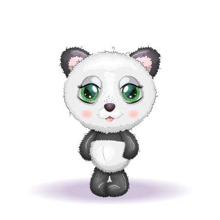 Sitting cute little panda isolated on white background Ilustracja