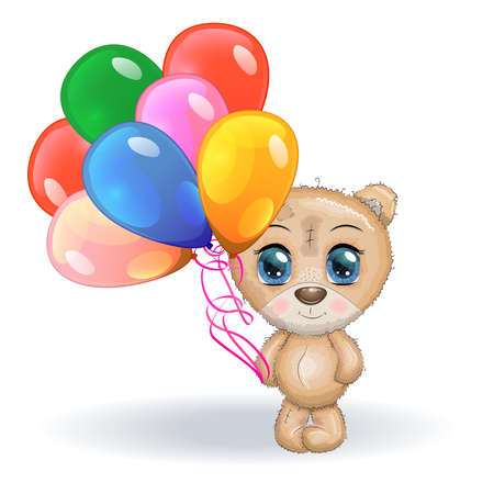 Cute little bear with balloons, greeting card illustration, cute animals
