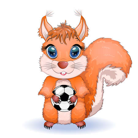 Cute cartoon squirrel with beautiful eyes holds a soccer ball.