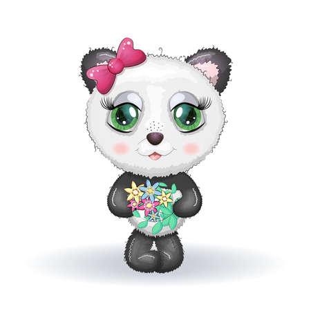 Cute little panda with big eyes and a bouquet, greeting card illustration, cute animal.