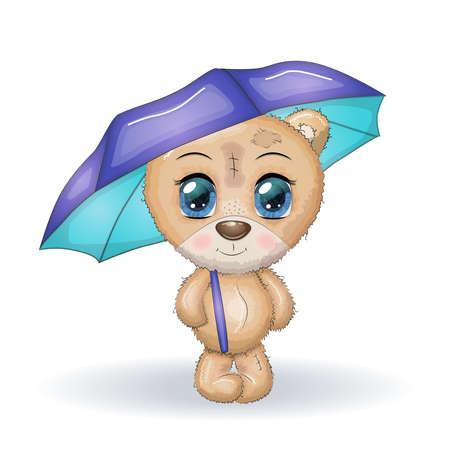 Cute little bear with pink bamboo umbrella. illustration. Cartoon. Illusztráció