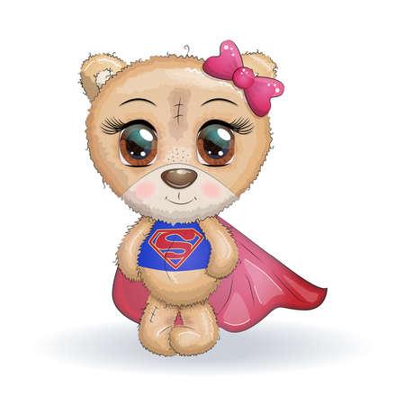 Cute little bear with big eyes in a cloak by a super hero, greeting card illustration Illusztráció