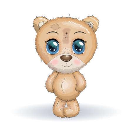 Cute bear cartoon hand drawn vector illustration. print t-shirts, baby clothes fashion design, baby shower invitation card.