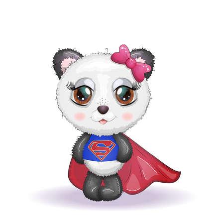Cute little panda with big eyes in a cloak by a super hero, greeting card illustration, cute animals Illusztráció
