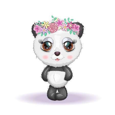 Cute little panda with big eyes and in a wreath of flowers, greeting card illustration, cute animals. Illusztráció