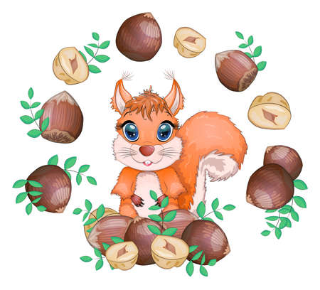 Cute cartoon squirrel with beautiful eyes holds a nut, surrounded by nuts.