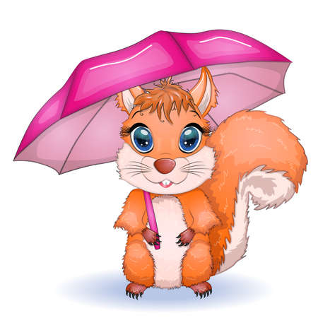 Cute cartoon squirrel with beautiful eyes with an umbrella, autumn concept.