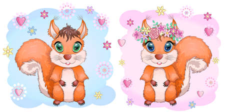 Couple of cute cartoon squirrel with beautiful eyes on a background of flowers