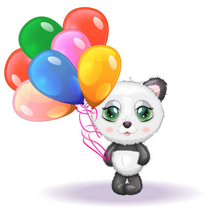 Cute little panda with balloons, greeting card illustration, cute animals